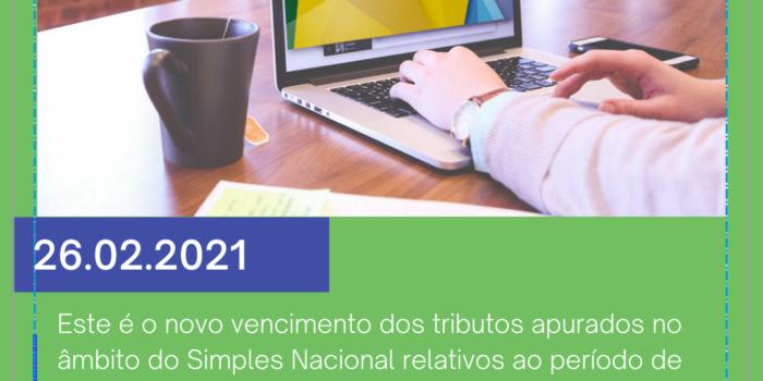 Prorrogada A Data De Vencimento Do Simples Nacional Relativo Ao Período De Apuração De Janeiro De 2021